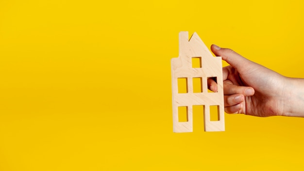 Лицо, занимающее деревянный дом с копией пространства