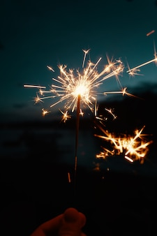 ベンガルのライトや花火を持っている人