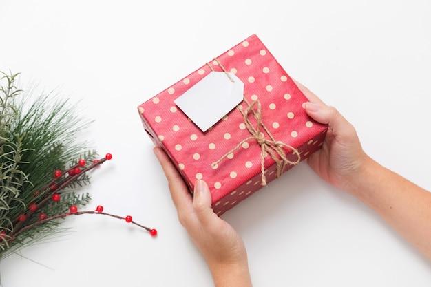 사람이 크리스마스 선물 상자를 들고