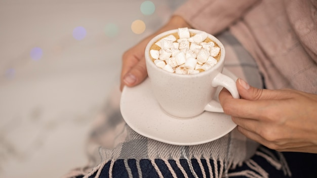 Person holding cup of hot cocoa with marshmallows