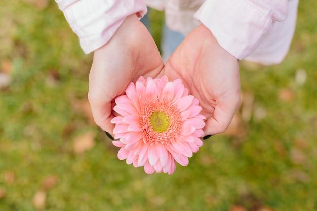 手で花を持っている人
