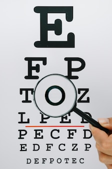 Person holding a magnifying glass over letters