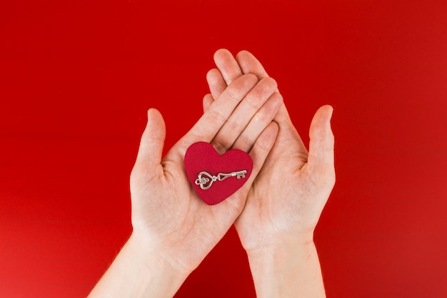 Person holding small heart in hands