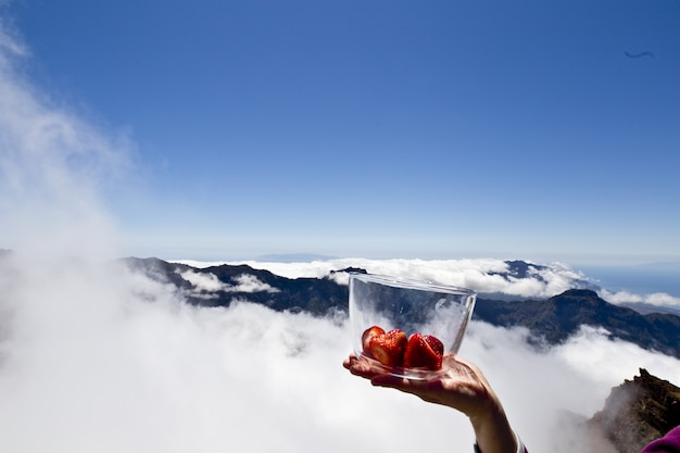 A person holding strawberries in a bowl on the mountains covered with clouds
