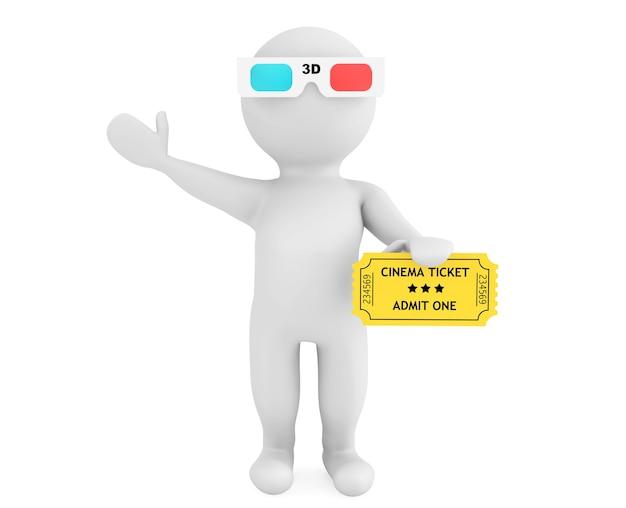 흰색 배경에 영화 티켓이 있는 3d 안경을 쓴 사람