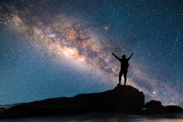 A person is standing next to the milky way galaxy pointing on a bright star.