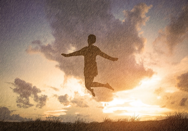 Person jumping with clouds background