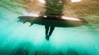Person lying on surfboard in blue ocean water