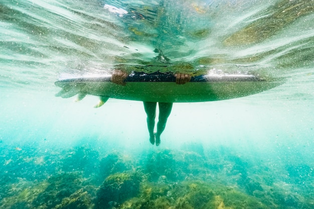 Person lying on surfboard in blue water