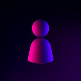 Person neon symbol icon. 3d rendering ui ux interface element. dark glowing symbol.