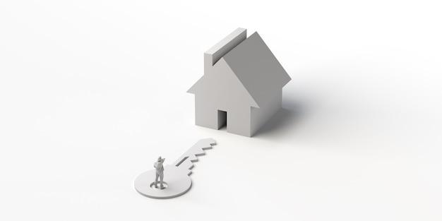 家の前の鍵の人不動産3dイラストバナー背景
