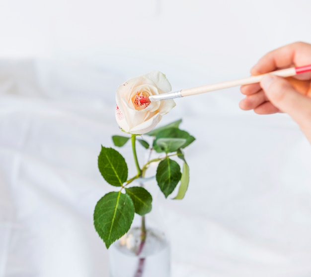 Person painting rose with brush on table