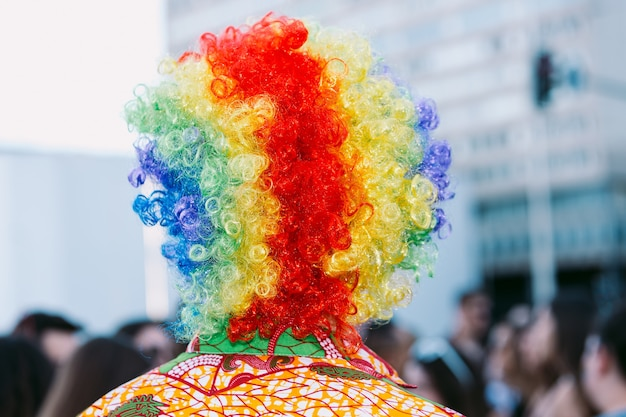 Person in a rainbow colored wig celebrating gay pride from behind