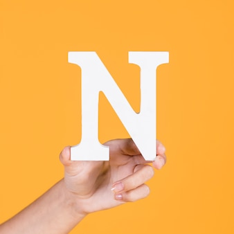 Person's hand showing n alphabet