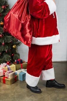 Person in santa's suit with present bag