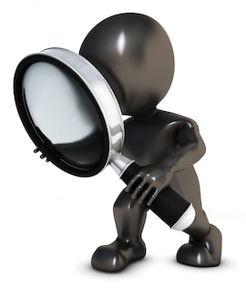 Person seeing through a magnifying glass
