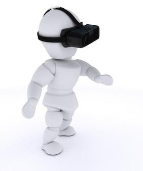 Person seeing through virtual reality glasses