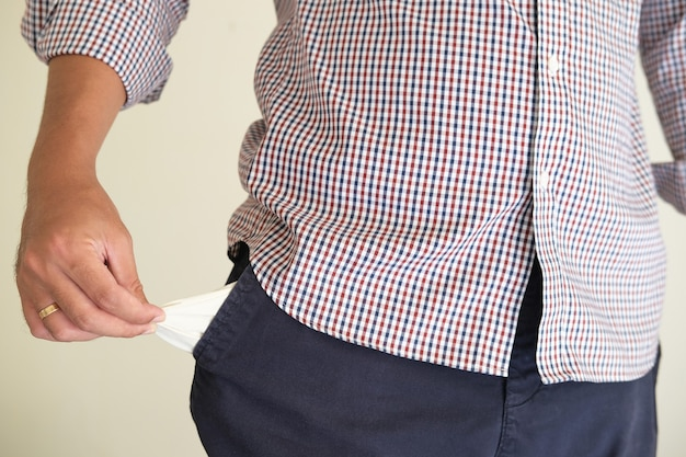 A person showing his empty pants pocket