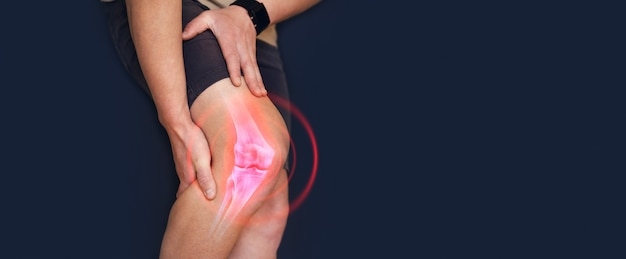 Person suffering from knee pain  digital bone on the human foot  injury caused by training