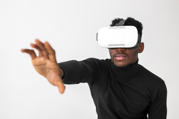 Person trying a virtual reality headset