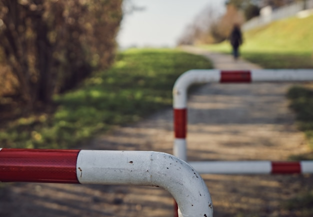 도시에있는 공원을 걷는 사람