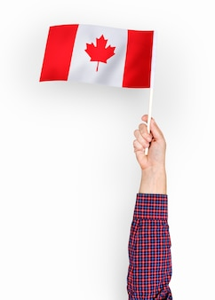 Person waving the flag of canada