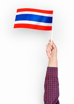 Person waving the flag of kingdom of thailand