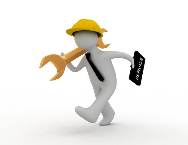 Бежит человек в шлеме, держит чемодан и гаечный ключ