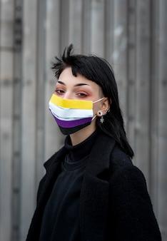 Persona che indossa una maschera medica non binaria all'esterno