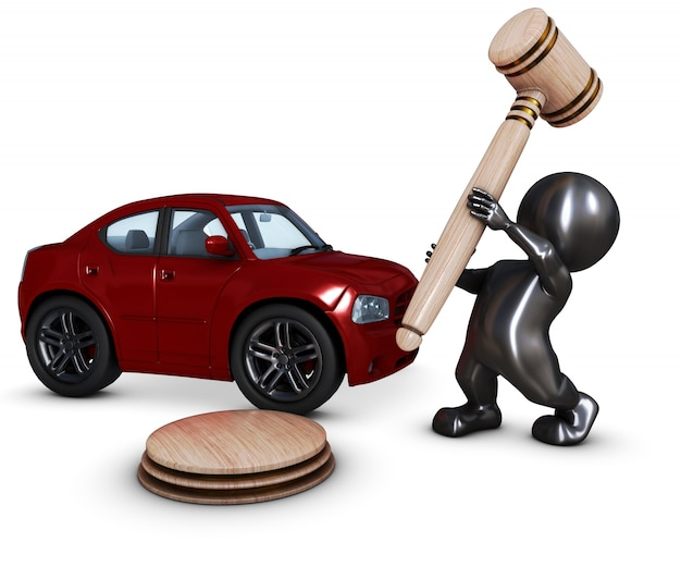 Person with a hammer in front of a car