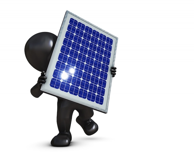 Person with a solar panel