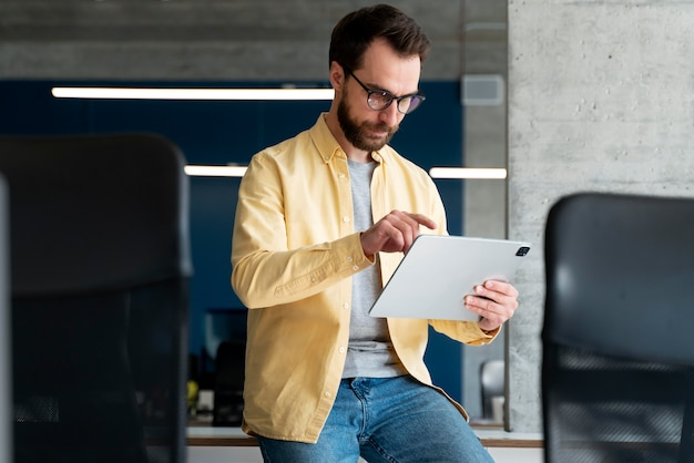 Person working as part of company team