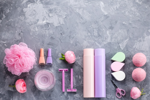 Personal care products and cosmetics flat lay
