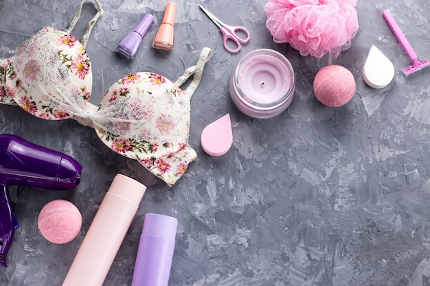 Personal care products, lingerie and cosmetics flat lay
