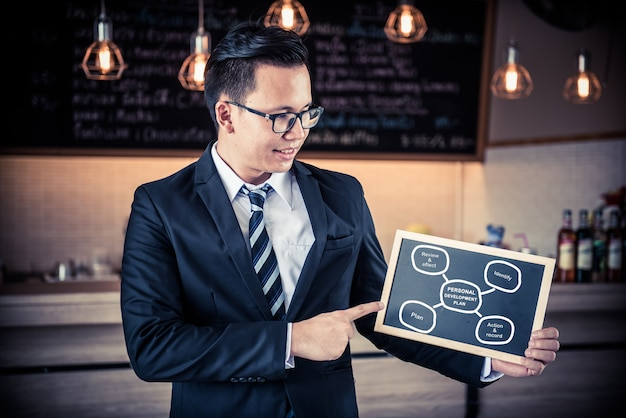 自己啓発スキルの概念。ビジネスの成長と成功のためのキーワードでチャート。