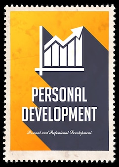 Personal development on yellow. vintage concept in flat design with long shadows.