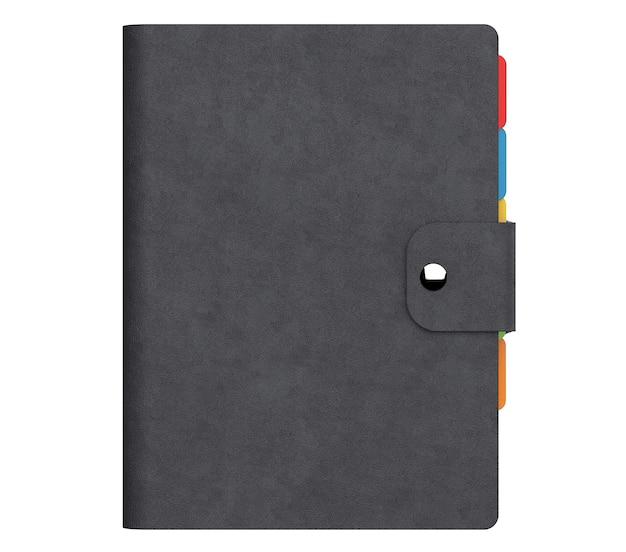 白い背景に黒い革のカバーが付いている個人的な日記または主催者の本。 3dレンダリング