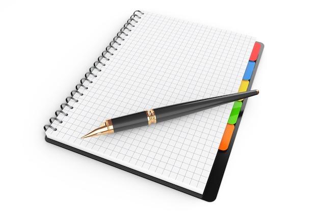 白地に白紙のページとペンが付いた個人日記またはオーガナイザーブック。 3dレンダリング