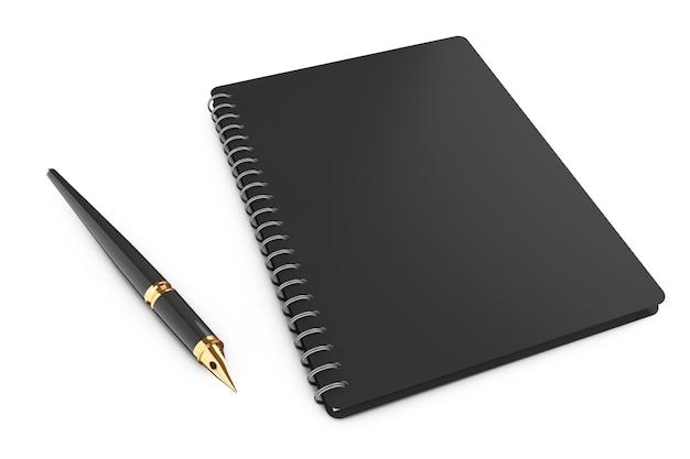 白い背景の上のペンで個人的な日記またはオーガナイザーの本。 3dレンダリング