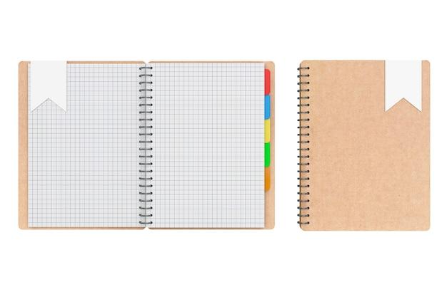 白地に白紙のページがある個人の日記やオーガナイザーの本。 3dレンダリング