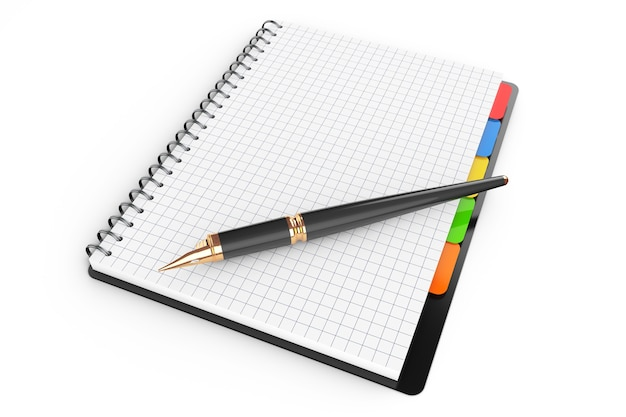 Personal diary or organiser book with blank pages and pen on a white background. 3d rendering