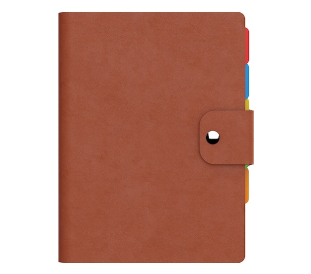 Personal diary or organiser book with brown leather cover on a white background. 3d rendering