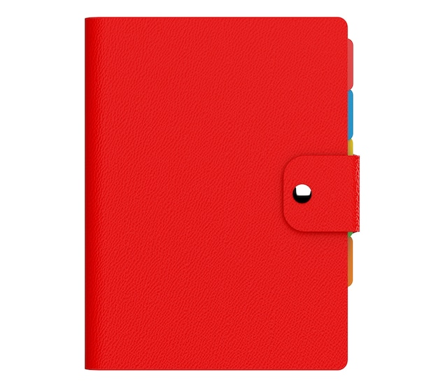 Personal diary or organiser book with red leather cover on a white background. 3d rendering