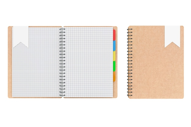 Personal diary or organiser books with blank pages on a white background. 3d rendering