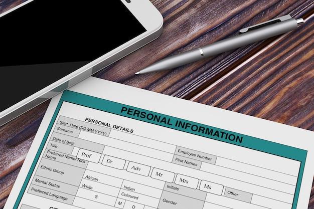 휴대 전화 및 펜 극단적인 근접 촬영 근처 개인 정보 양식. 3d 렌더링