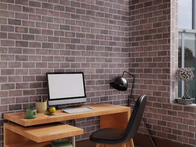 Personal office work area with computer on wood table. 3d rendering.