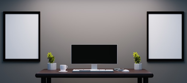 Personal work desk with ultrawide monitor and couple frame on wall for mockup