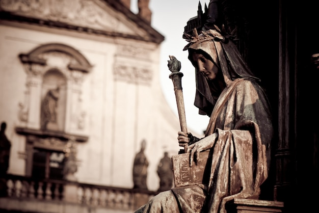 Personification of the faculty of arts, decoration of the statue of charles iv. prague, czech republic