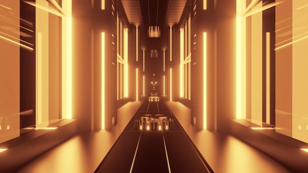 대칭 요소와 노란색 네온 불빛으로 형성된 기하학적 복도의 원근 3d 그림