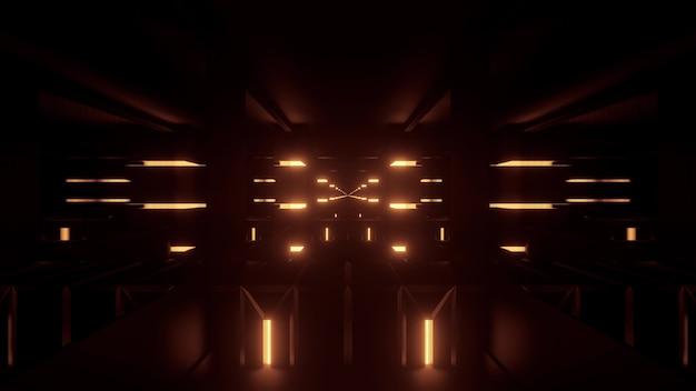 어두운 배경에 빛나는 노란색 네온 불빛이 있는 대칭 추상 복도의 원근 3d 그림